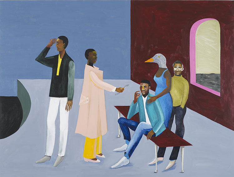 Le Rodeur: The Exchange, 2016. Acrylic on canvas, 183 x 144cm. Courtesy the artist and Hollybush Gardens. Photograph by Andy Keate.