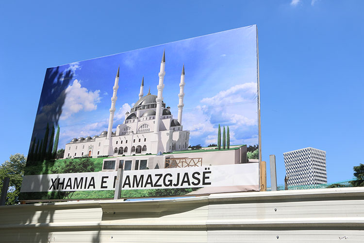 Billboard by the construction site of Namazgâh Mosque, Tirana, June 2015.