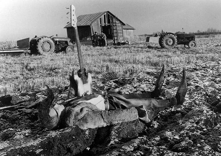 Still from Leningrad Cowboys Go America,  Aki Kaurismäki, 1989.