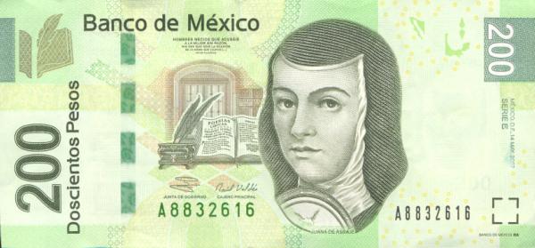The 200 peso note, featuring Sor Juana Inés de la Cruz (1992-present)