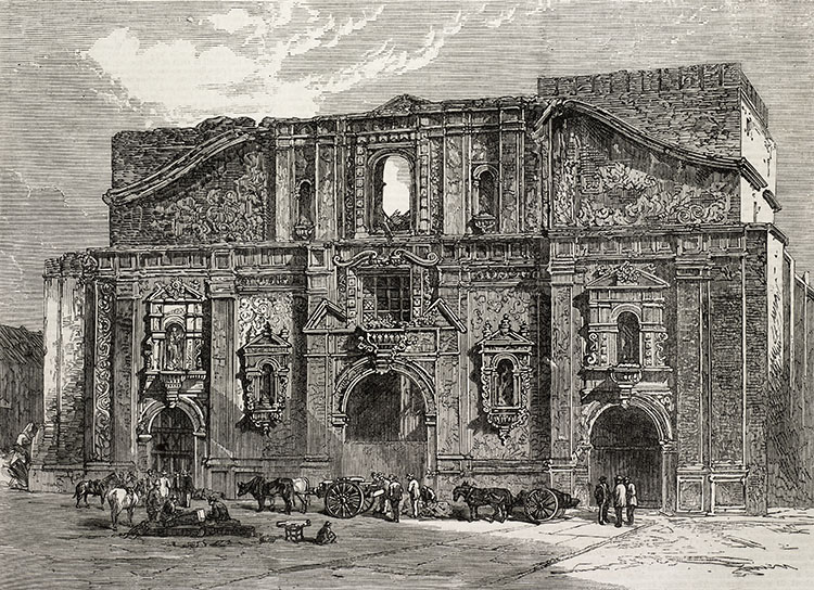 Ruins of the Church of Compania after the fire of December 1863, from Illustrated London News, 6 February 1864. (Bridgeman Images)