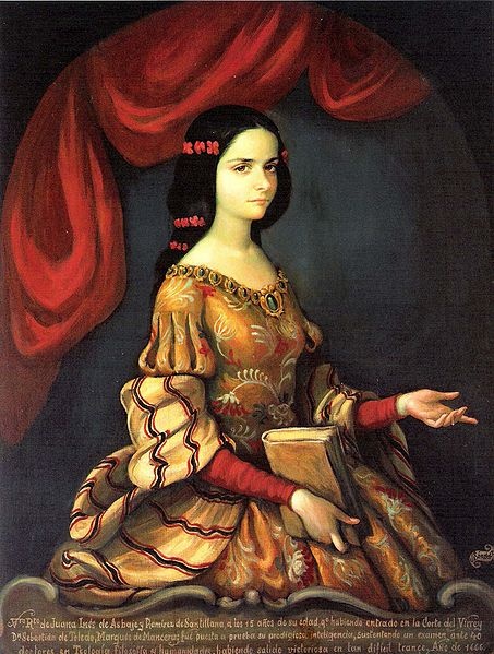 Portrait of Sor Juana at 15, when she first entered the viceregal court. 17th century, artist unknown.