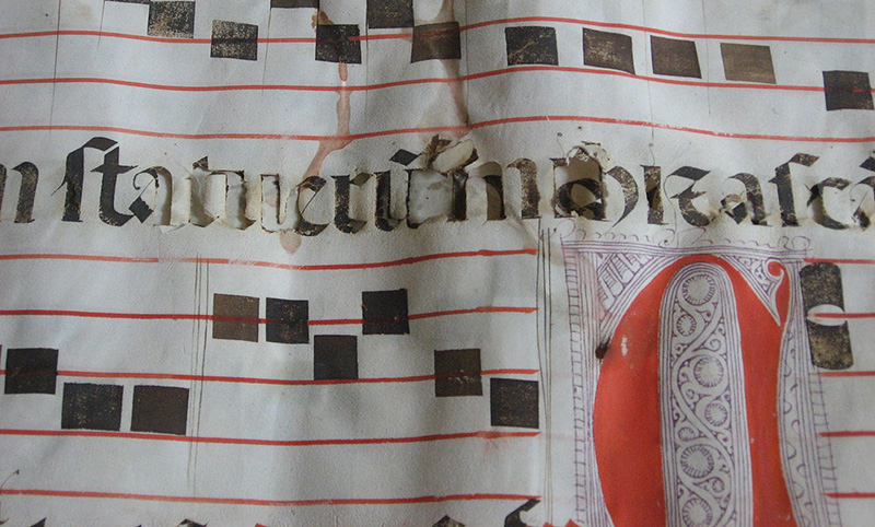 Iron gall ink corrosion on a manuscript from the Church of St Francis, Évora, Portugal.