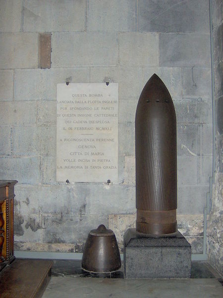 The unexploded shell, fired by HMS Malaya, in the nave of Genoa Cathedral