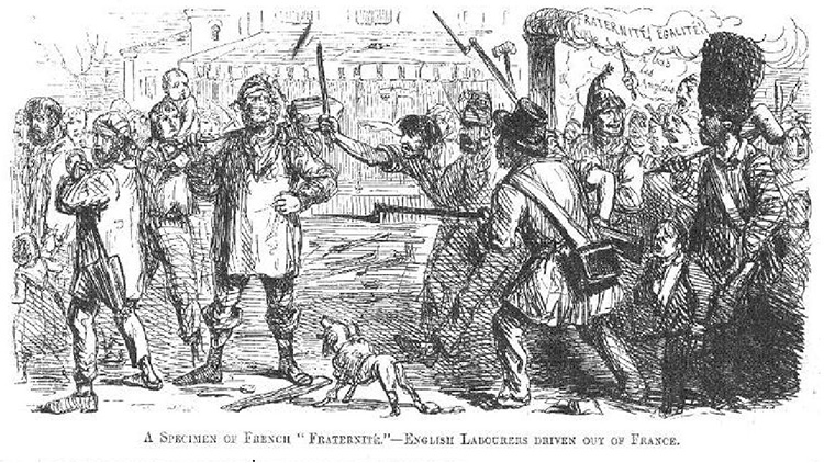 "'A Specimen of French ""Fraternité"" – English Labourers Driven Out of France'"