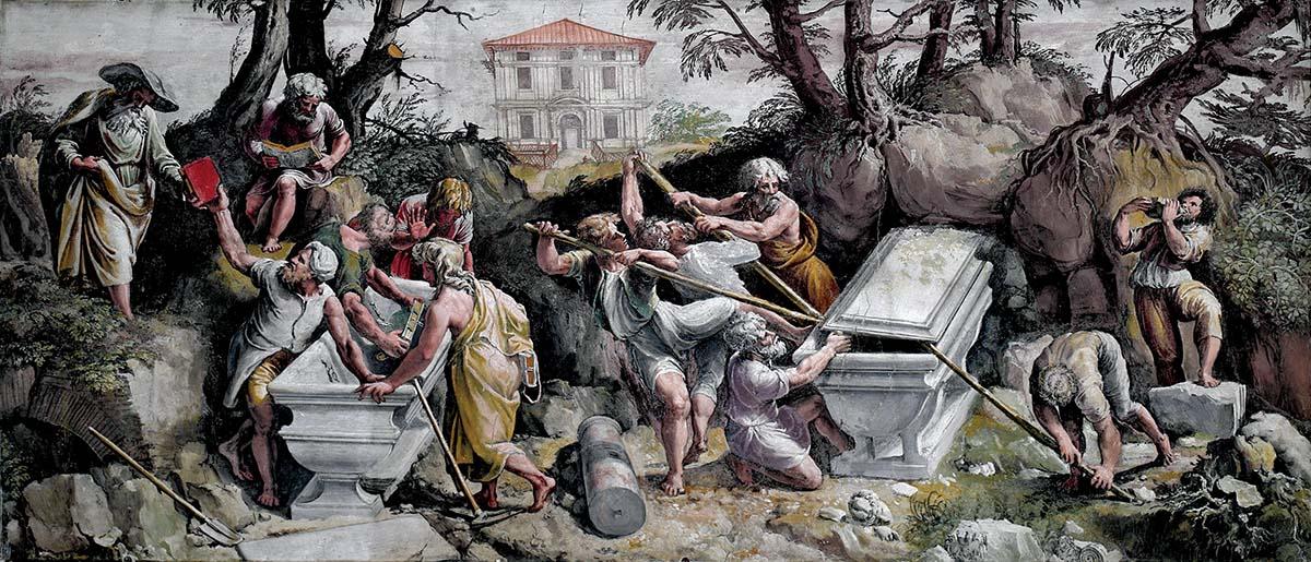 'Finding of the Sibylline Books and the Tomb of Numa Pompilius', workshop  of Giulio Romano with Polidoro Caldara da Caravaggio, c.1524-25 © Bibliotheca Hertziana, Max-Planck-Institut für Kunstgeschichte, Rome
