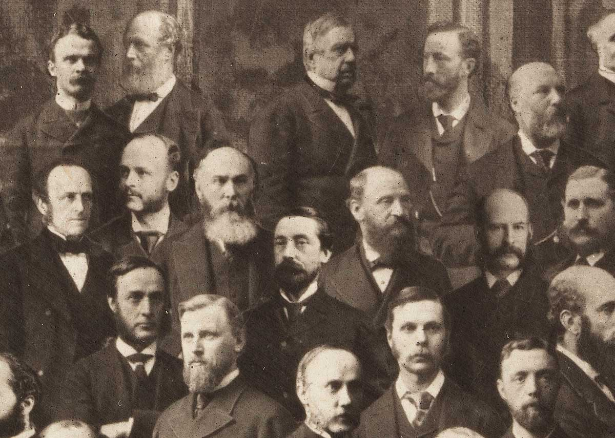 'The fourth age'. Detail from a photo montage of the Members of the International Medical Congress, London, 1881. Wellcome Collection.