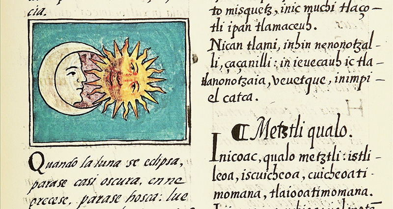 Detail of the 16th-century Florentine Codex, showing a lunar eclipse. Arizona State University Hispanic Research Center.