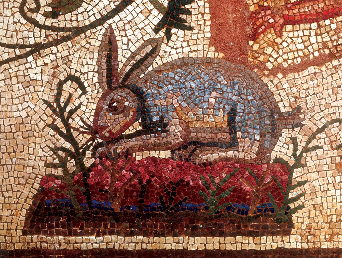 'Oh, my fur and whiskers!':  a hare or rabbit mosaic, from the House of Dionysus, Cyprus, third century AD © Bridgeman Images