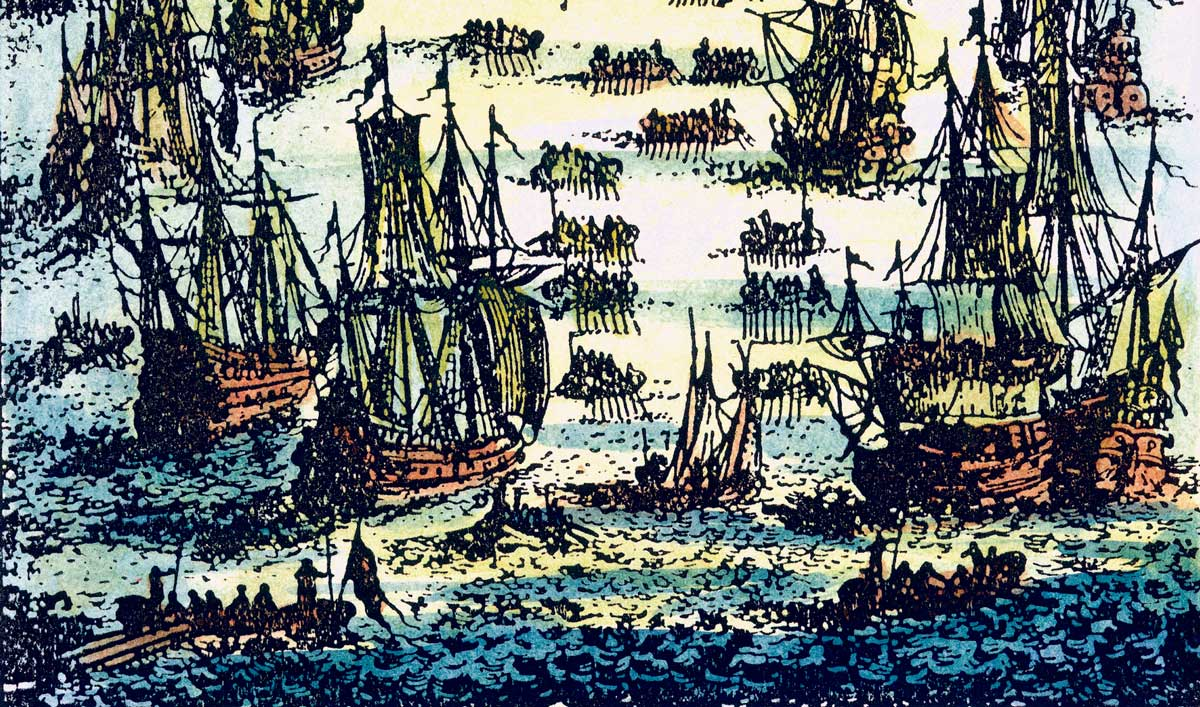 A fishing fleet on the Grand Banks off the coast of Newfoundland, copper engraving, French, 1683 © Bridgeman Images.