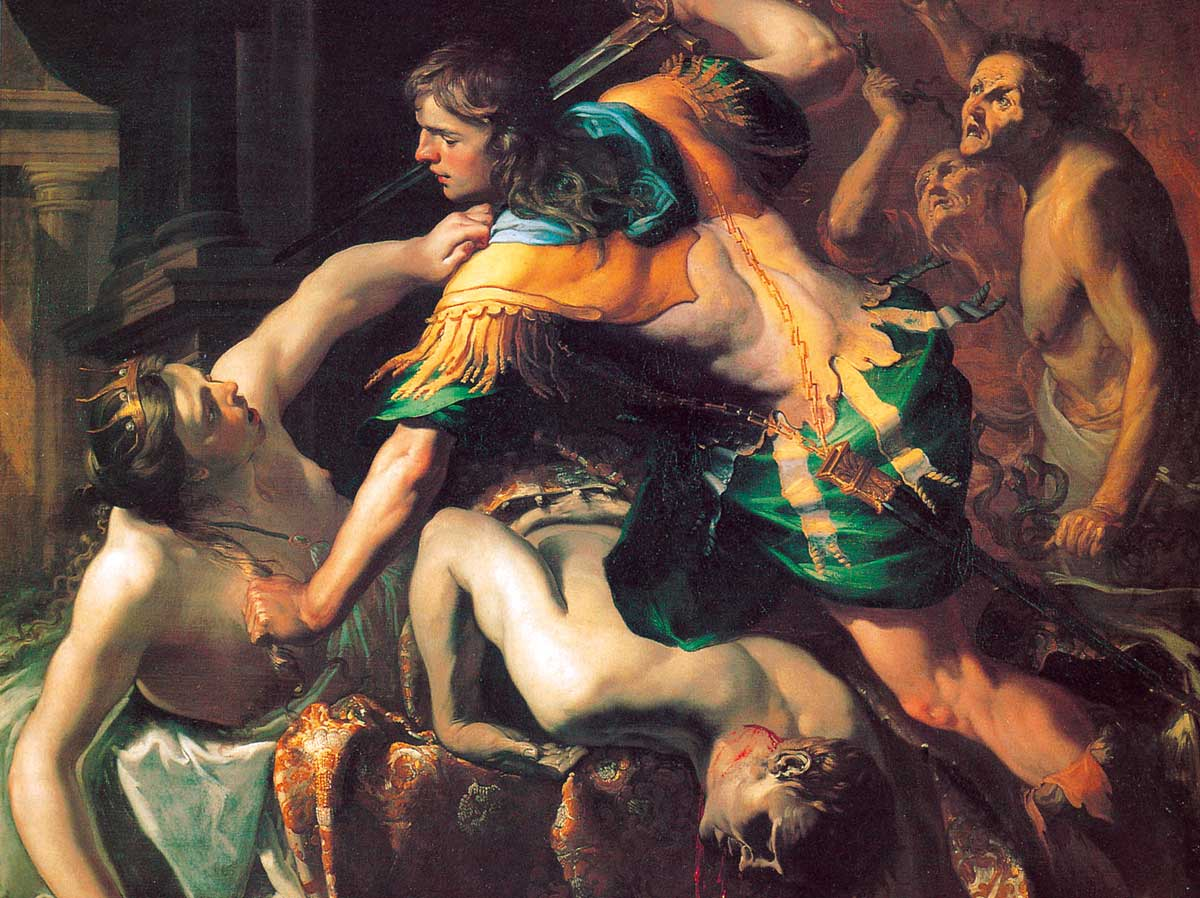 Orestes Slaying Aegisthus and Clytemnestra, by Bernadino Mei, 1653 © akg-images.