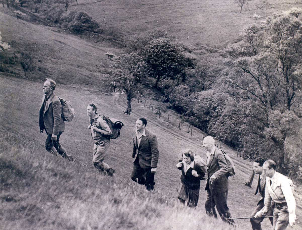 Labour Cabinet ministers walking in the Peak District, 1947. c/o Campaign for National Parks.