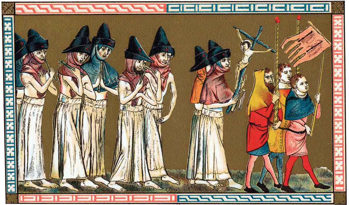 Flagellants known as the Brothers of the Cross proceed through Tournai to free the world of the plague. Chromolithograph after the Chronica Aegidii Li Muisis (1349) © Ann Ronan/Getty Images.