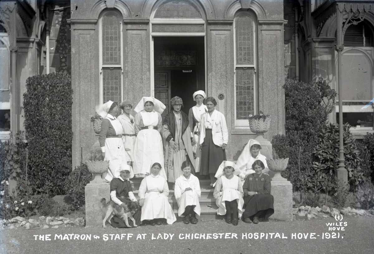 Photograph of the matron and staff of the Lady Chichester Hospital, Hove, 1921. East Sussex Record Office.
