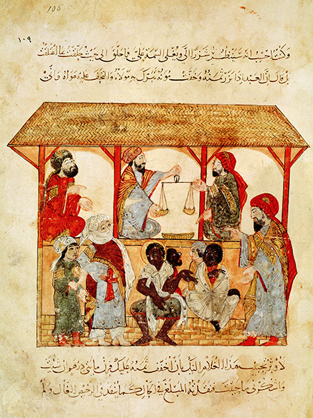 The king's property: a slave  market, by Yahya ibn Al-Wasiti  from Al Maqamat, 'The Meetings',  by Al-Hariri, 13th-century Iraq. Ms Ar 5847 f.105  © Bibliothèque Nationale/Bridgeman Images.