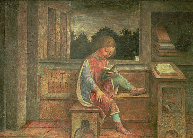 Bookish child: 'The Young Cicero Reading', fresco by Vincenzo Foppa, c.1464.