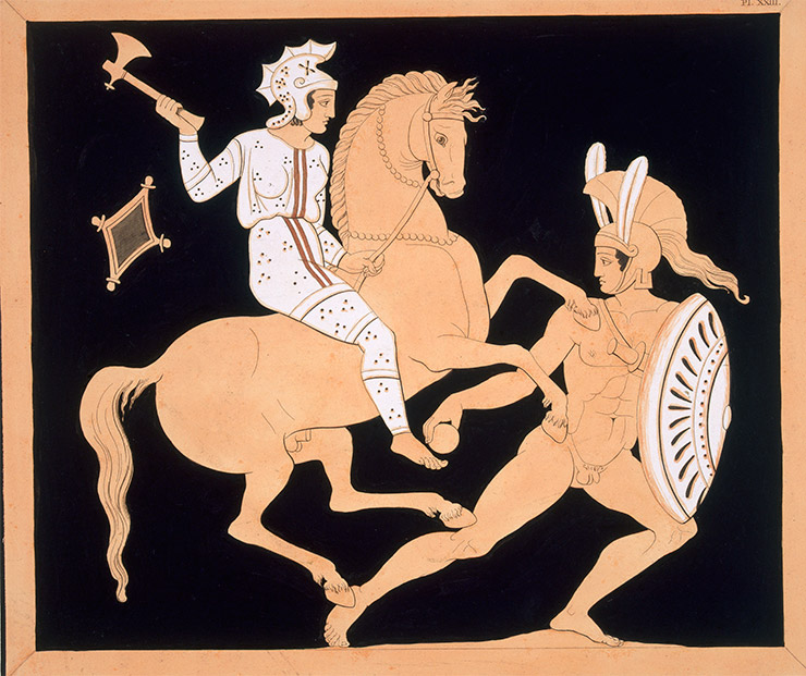Into battle: an Amazon attacks a Greek warrior, French, c.1808