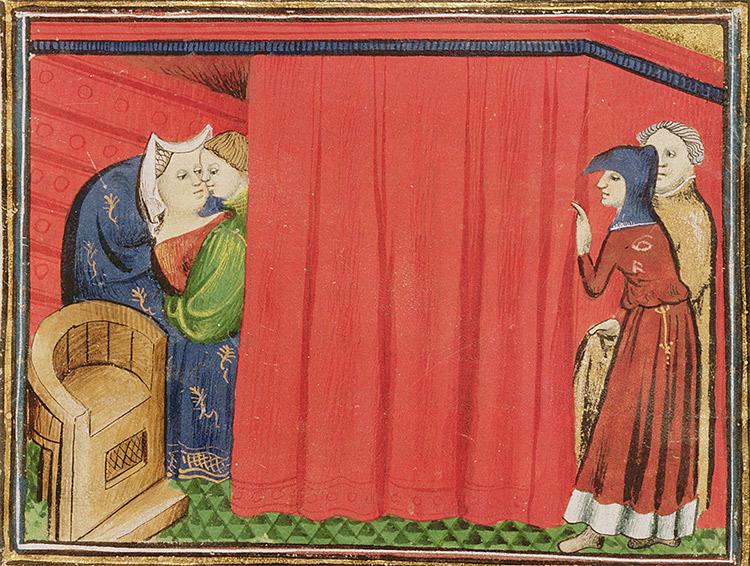 Behind the curtain: an illustration from Barthelemy l'Anglais' Le Livre des Proprietes des choses, c.1410.