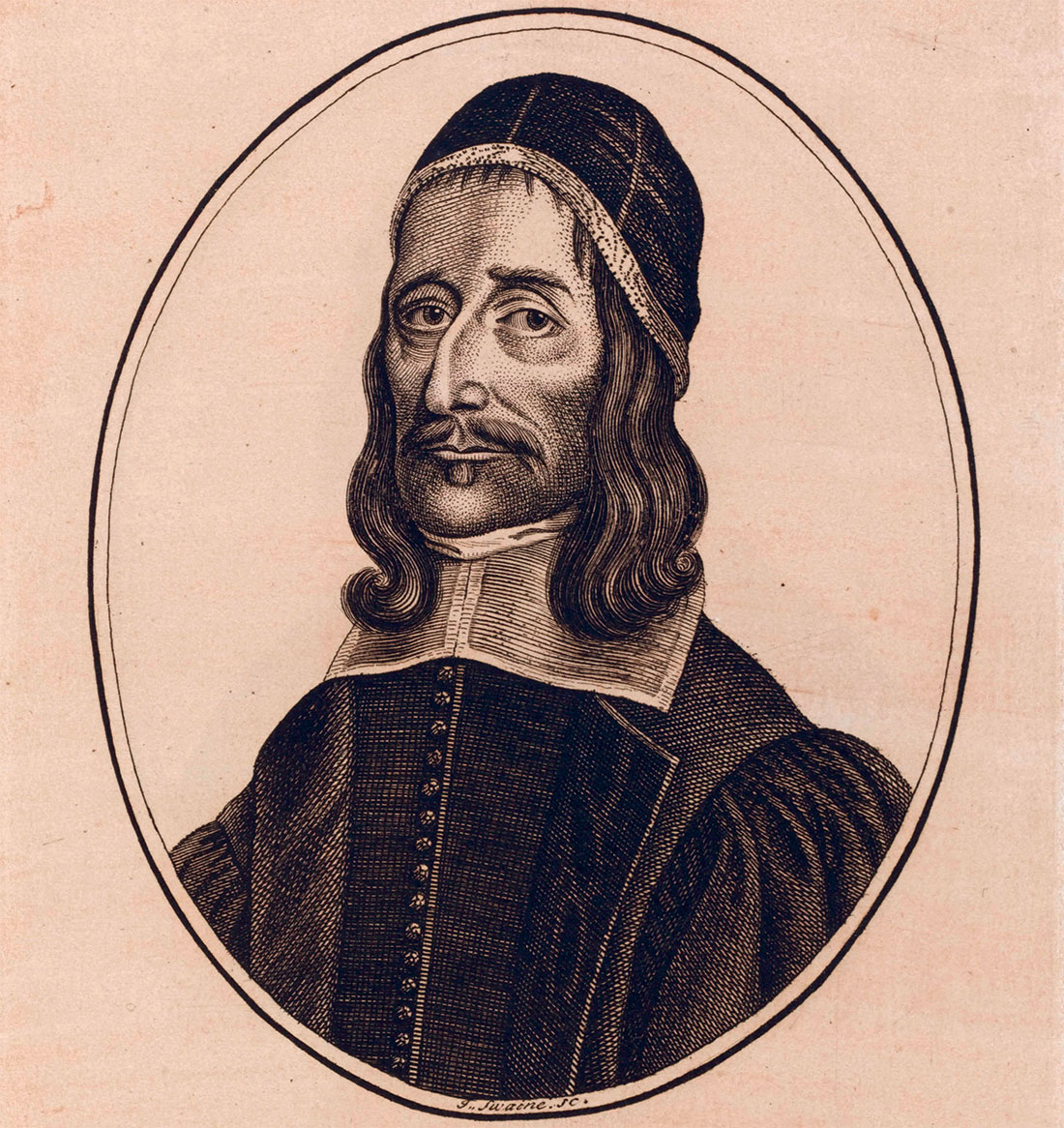 Prolix puritan: Richard Baxter, engraving on a 19th-century bookplate.