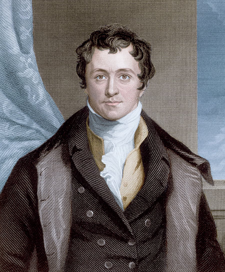Safety baron: Humphry Davy, engraving from a portrait by T. Lawrence, 1807.