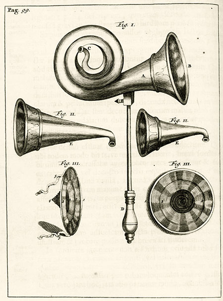 An engraving of hearing aids from Exercitationes Practicæ circa Medendi Methodum by Frederik Dekkers, 1694