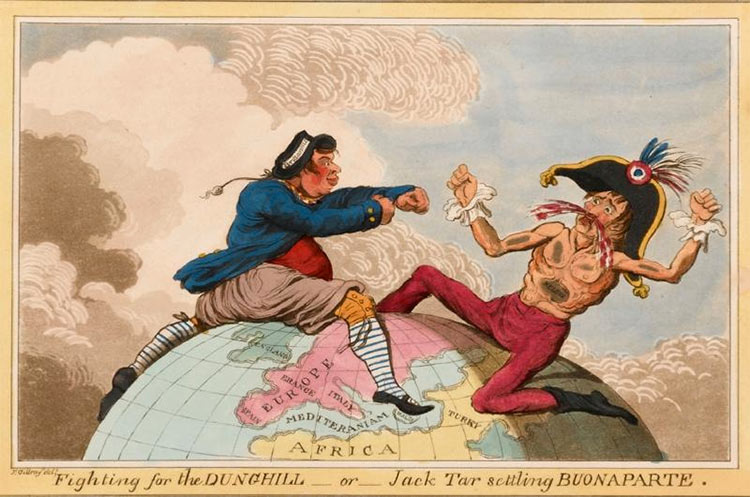 'Fighting for the Dunghill, or, Jack Tar Setting Buonaparte' by James Gillray (1798).