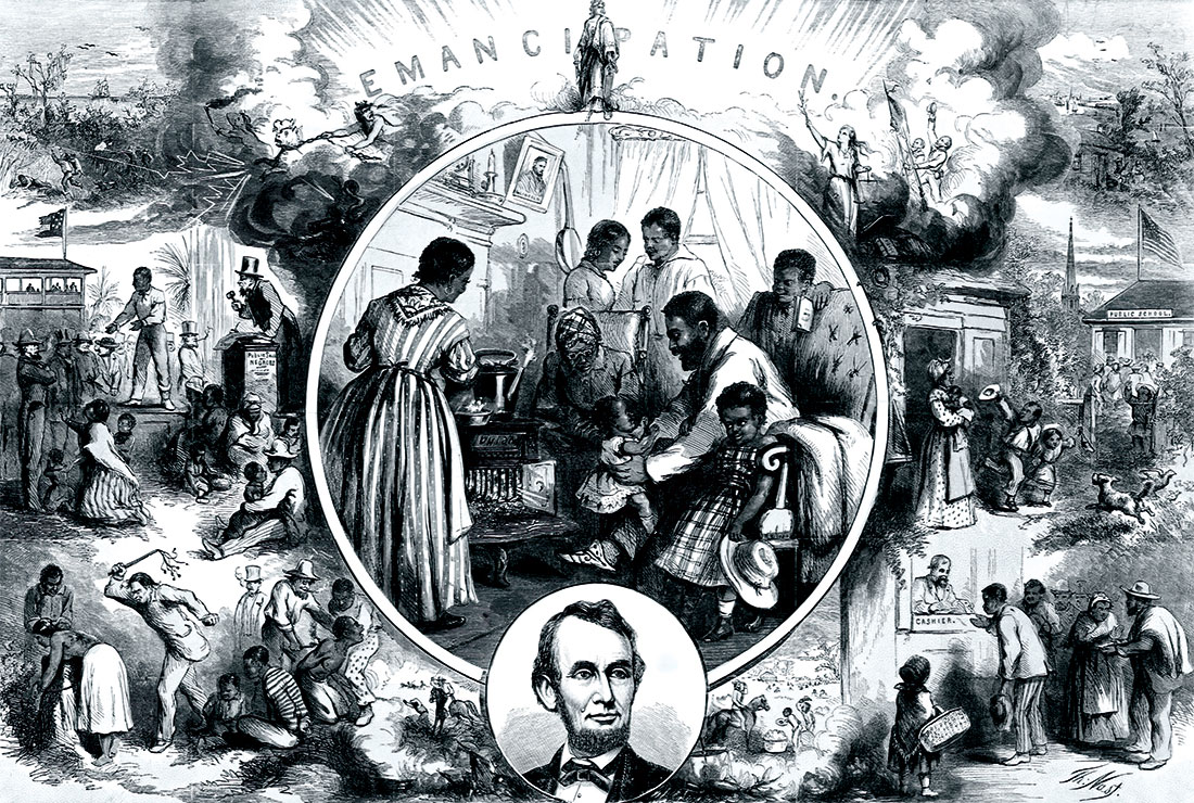 Change at last: engraving celebrating the emancipation of slaves, by Thomas Nast, c.1863.