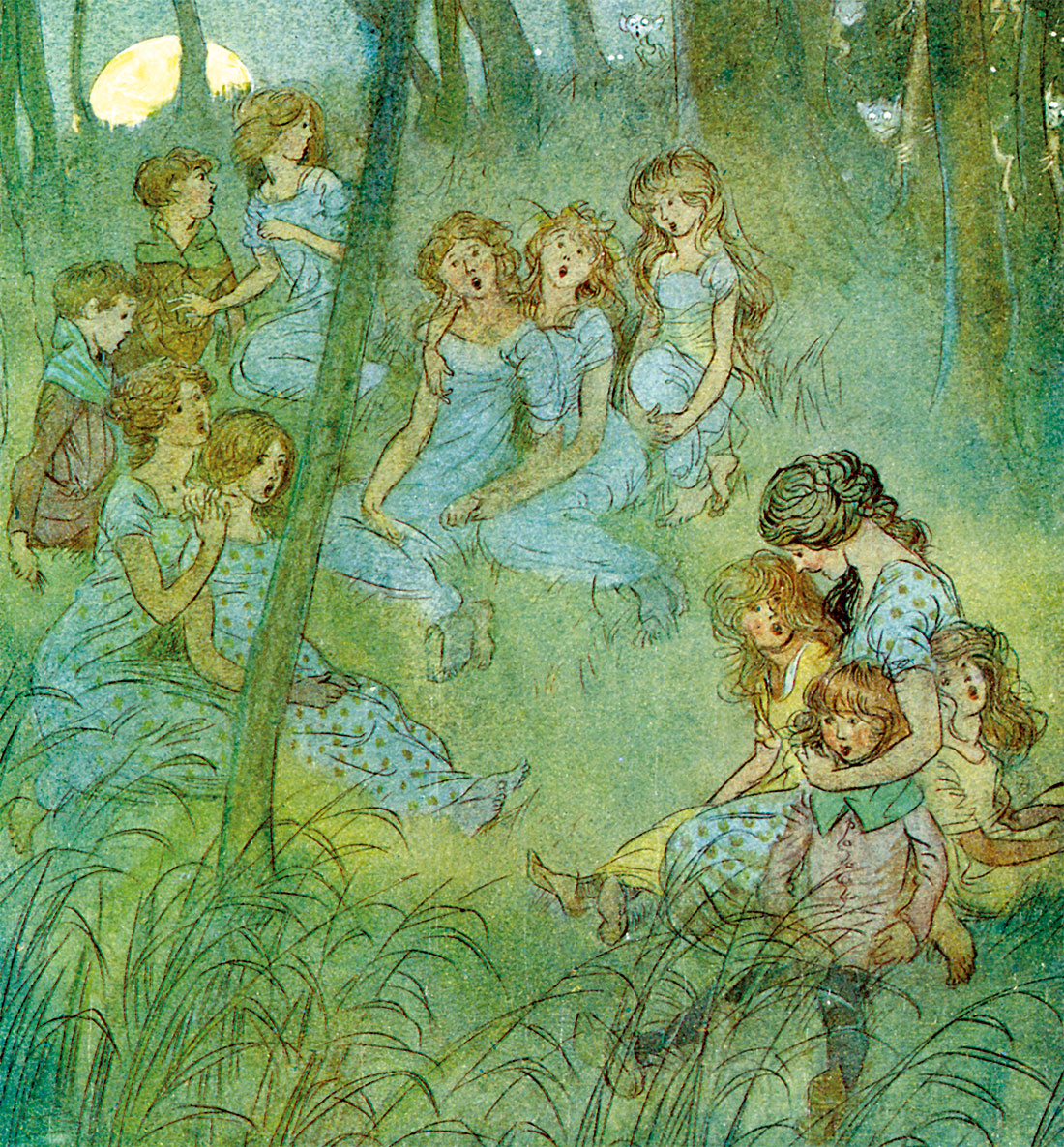 'And nightly meadow-fairies, look you sing': illustration for Shakespeare's The Merry Wives of Windsor, by Hugh Thomson, 1910.