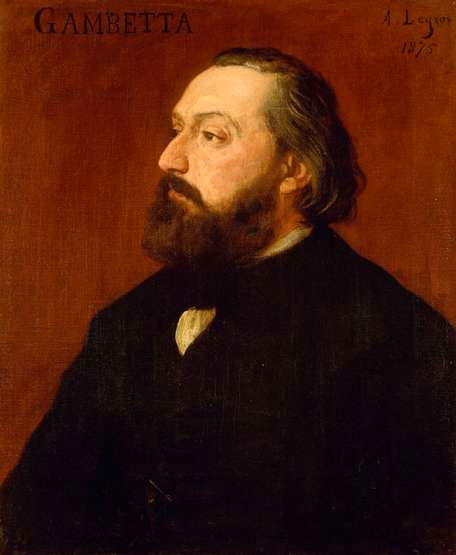 Léon Gambetta, leader of the Government of National Defence during the Franco-Prussian War. By Alphonse Legros (1875).