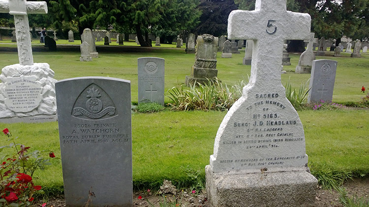In memoriam: graves of soldiers from Irish units killed in the 1916 Easter Rising, Grangegorman Military Cemetery, Dublin, 2015.