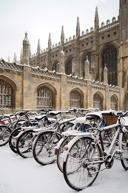 Frozen out: bikes parked in Cambridge.