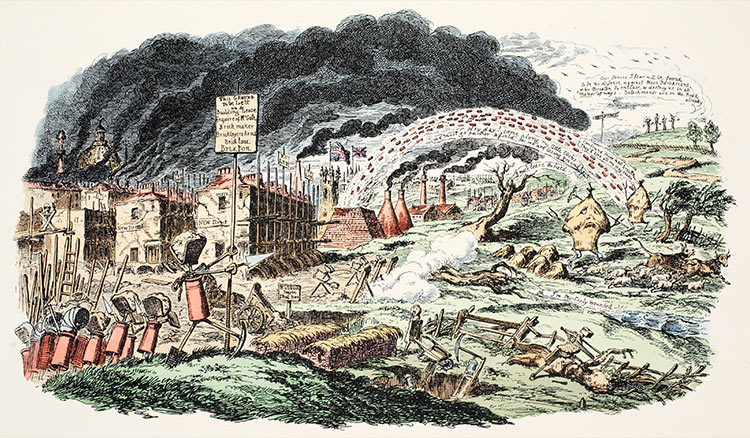 Going, going, gone: 'The March of Bricks and Mortar', by George Cruikshank, 1829.