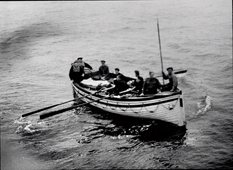 Choppy waters: a wounded soldier is evacuated from Dunkirk, 1940.
