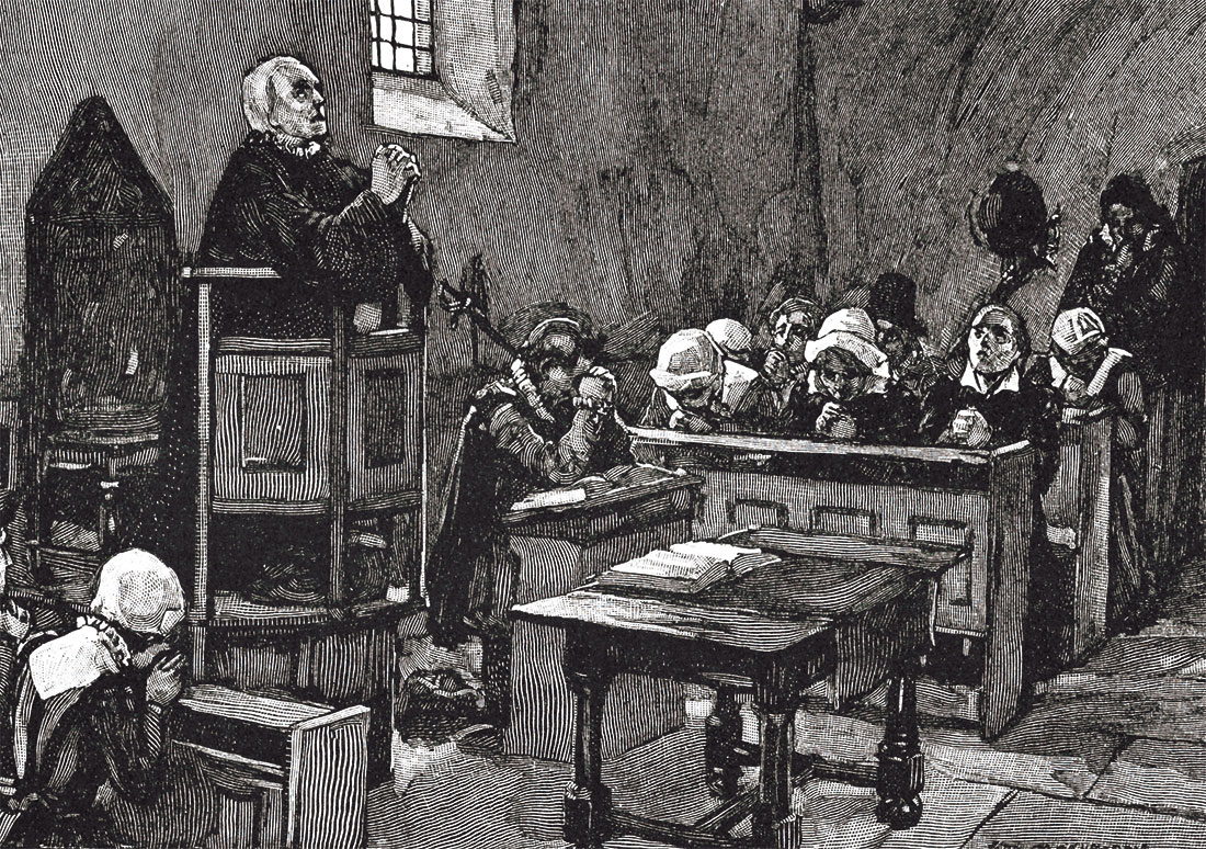 Behaving: puritan worship in the time of Elizabeth I, lithograph from The Church of England: A History for the People, by H.D.M. Spence-Jones, 1910.