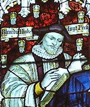 Hakluyt depicted in stained glass in the west window of the south transept of Bristol Cathedral