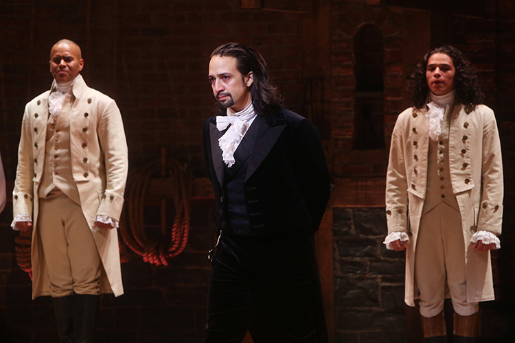 Christopher Jackson, Lin-Manuel Miranda and Anthony Ramos in Hamilton, 2015