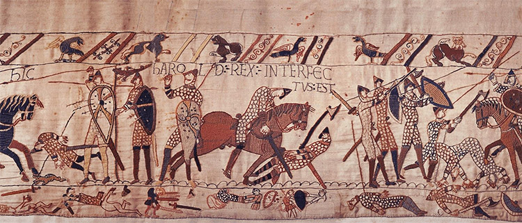 Harold's death scene in the Bayeux Tapestry