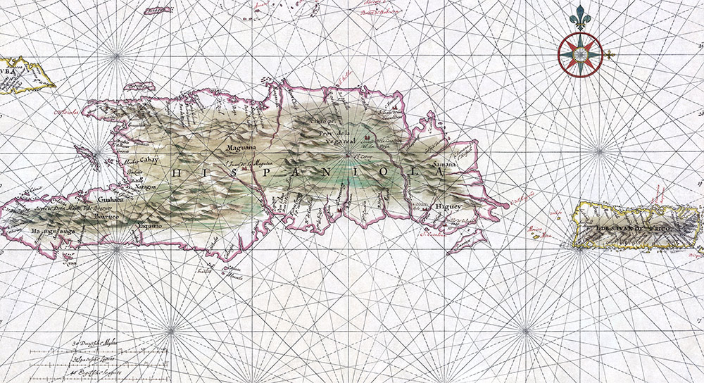 Nautical chart of Hispaniola and Puerto Rico, c.1639.
