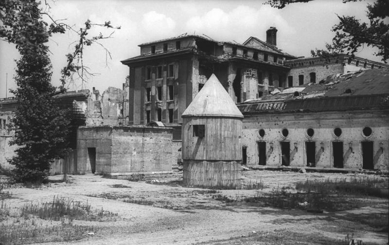July 1947 photo of the rear entrance to the Führerbunker in the garden of the Reich Chancellery.