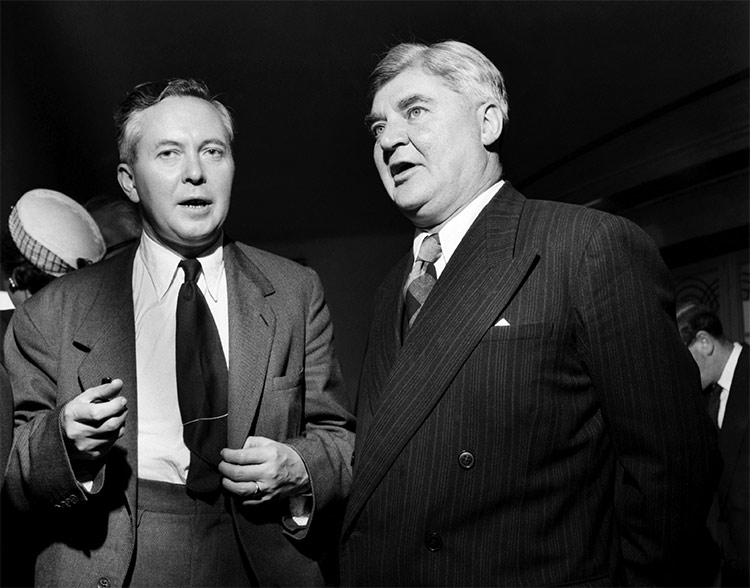 Aneurin Bevan (right) with the future prime minister Harold Wilson at the Labour party conference, September 1953.