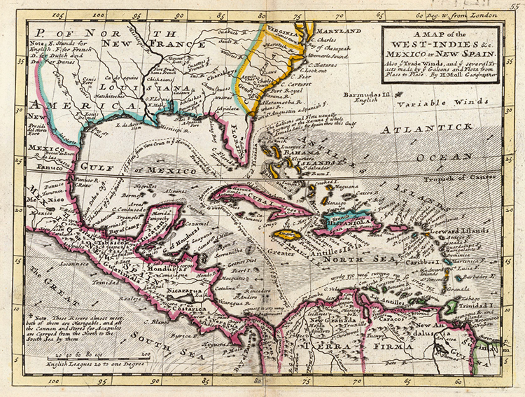Map showing the Isthmus of Tehuantepec (1736).