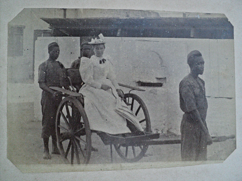 Meeting of cultures: Amelia Jackman in a cart, 19th century.