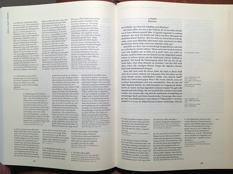 A page from the Munich edition. Hitler's text (centre right) is encircled by notes about changes between editions (far right) and notes correcting factual errors, filling historical gaps and tracing the origins of key ideas (left and bottom).