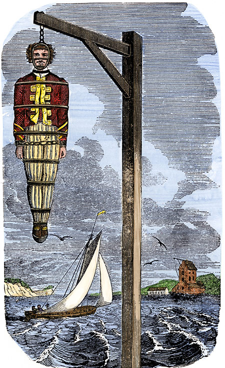Hanging around: Captain William Kidd in the gibbets in 1701.