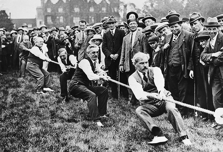 Tug-of-War: Ramsay MacDonald is the first man on the rope at a Labour Party rally, 1923.