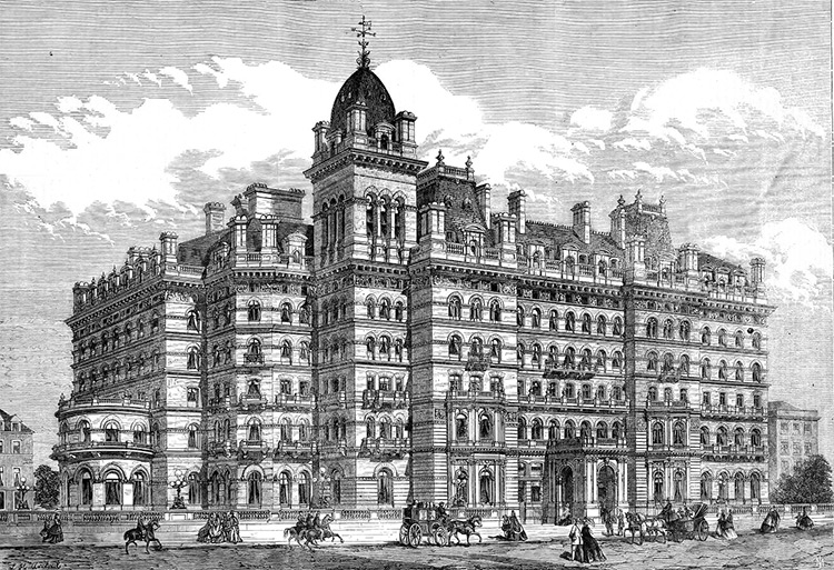 London's (supposedly haunted) Langham Hotel as featured in the Illustrated London News, 1865