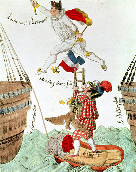 All at sea: 'The Last Leap of a Great Man' (Napoleon). French engraving, early 19th century.