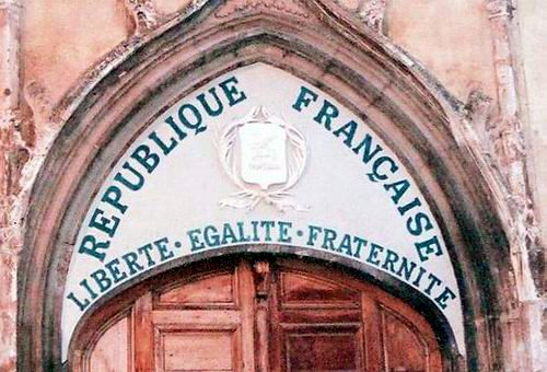 The motto of the French republic on a church in Aups