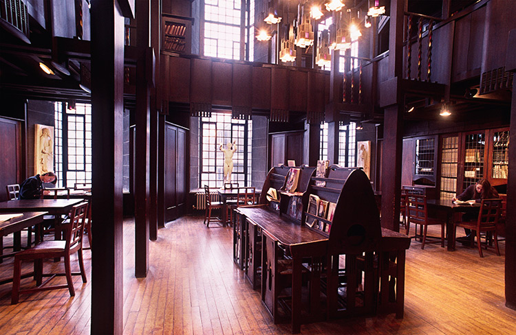 The interior of the library at the Glasgow School of Art before the fire.
