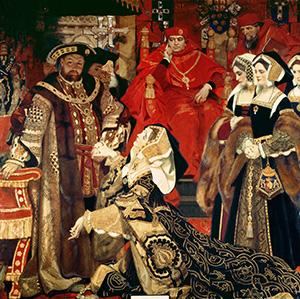 'Henry VIII and Catherine of Aragon Before the Papal Legates at Blackfriars in 1529', by Frank Owen Salisbury, 1910